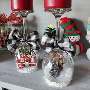 Other - Wine Glass Snow Globes